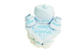 Jongens taart met driedelig setje Hello World