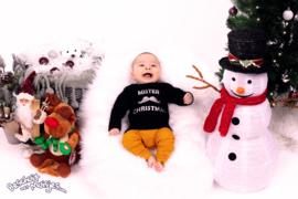 Luxe Kerst Shirtje met lange mouw - Mister Christmas - Zwart/Zilver