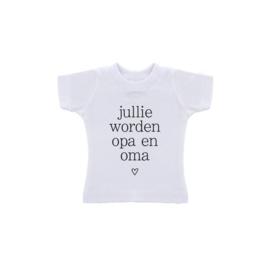 T-Shirt in zakje/ Wij willen jullie iets vertellen/ jullie worden Opa en Oma