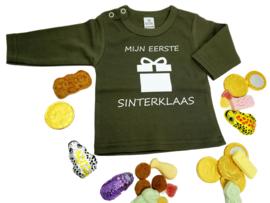 Shirtje met lange mouw - Mijn eerste Sinterklaas - Legergroen