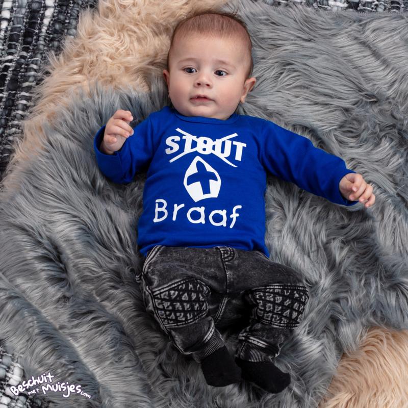Shirtje met lange mouw - Stout braaf - Royal Blauw