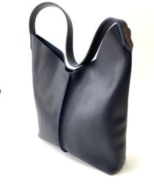 City bag - levendig leer - donkerblauw
