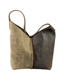 City Bag 2color - levendig leer - bruin taupe