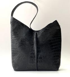 City Bag - leer crocoprint - zwart