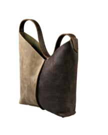 City Bag 2color - levendig leer - bruin taupe