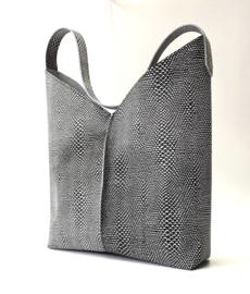 City Bag - leer snakeprint - zwart