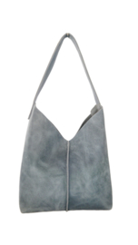 City bag - levendig leer - jeans blauw