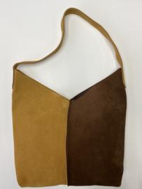 City Bag 2color - suède - bruin geel