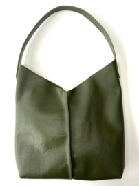 City Bag - glad leer - forest groen
