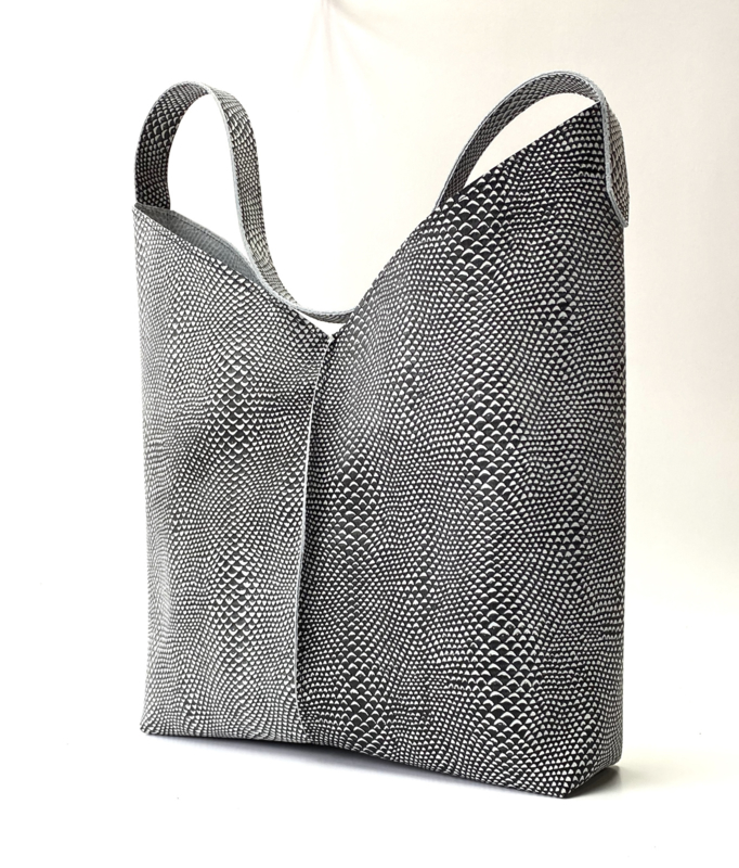 City Bag - leer snakeprint - zwart