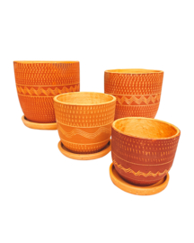 ALL RED ENGRAVED HIGH CURVED POT SET X4
