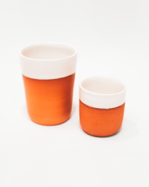 20 X white glazed terracotta cup set X2 - REF 023