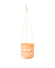 8 X ALL WHITE ENGRAVED HANGING POT D14 H13