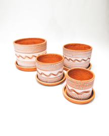 white engraved straight pot set X4 - REF 015