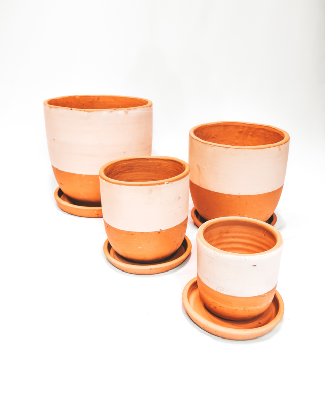 half white high curved pot set X4 - REF 022