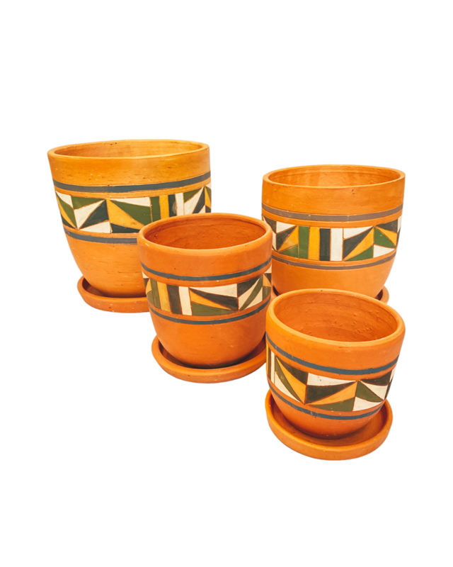 COLOURFUL HAND PAINTED HIGH CURVED POT SET X4
