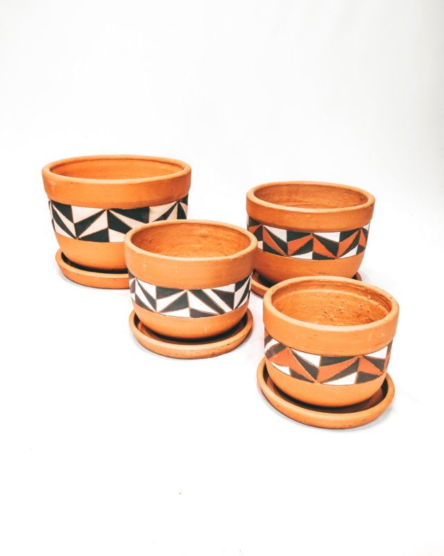 hand painted curved pot set X4 - REF 011