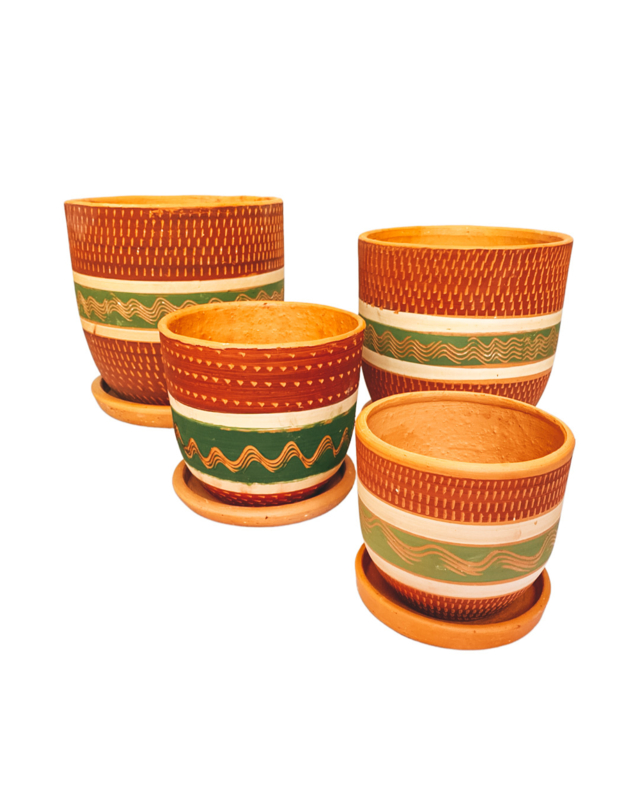 RED & GREEN ENGRAVED HIGH CURVED POT SET X4