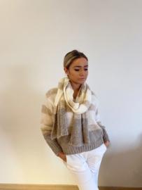 Trui - sjaal - beige - grijs