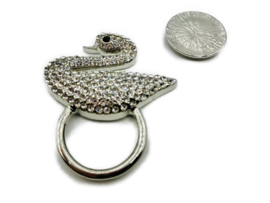 Sjaal Magneet Broche met schittersteentjes | Zwaan (voor zomer- en wintersjaals)