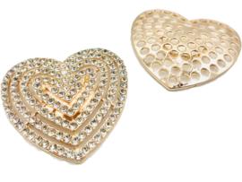 Damessjaal Magneet Broche met schittersteentjes | Hartje (voor zomer- en wintersjaals)