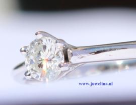 gouden ring diamant 0.22 ct 14 kt witgoud