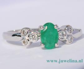 18 kt gouden ring smaragd diamanten