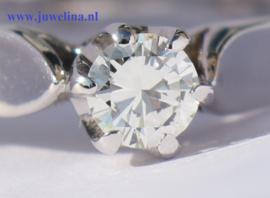 gouden ring diamant 0.24 ct 14 kt witgoud
