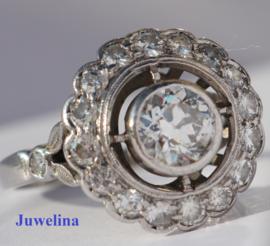 14 kt gouden ring 1.40 ct diamanten 0.75 ct centrale diamant