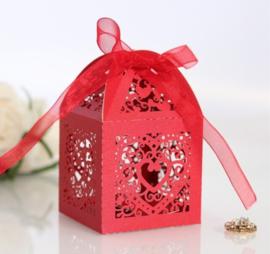 Giftbox Laser-cut Lantern With Ribbon Red (5 pcs)