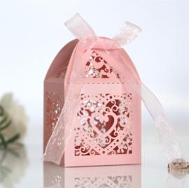 Giftbox Laser-cut Lantern With Ribbon Pink (5 pcs)