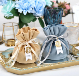 Premium Luxurious Velvet Giftpouch with Ribbon and Pearl Charm or Happiness Charm