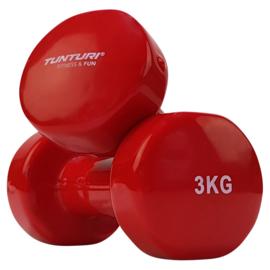 Halter set vanadiumstaal / vinyl - 2 x 3.0 KG - rood