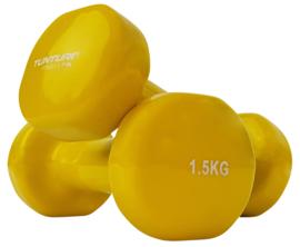 Halter set vanadiumstaal / vinyl - 2 x 1.5 KG - geel