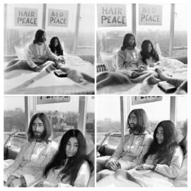 Vierluik John Lennon & Yoko Ono, maart 1969.