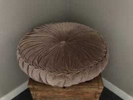 Velvet kussen TAUPE (doorsnede 60 cm.)