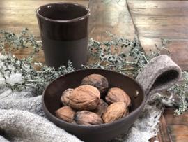 NADesign Kommetje wit met lus van vilt (11 cm.) brown