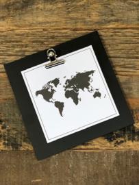 """Clip board zwart  """"de wereld"""""""