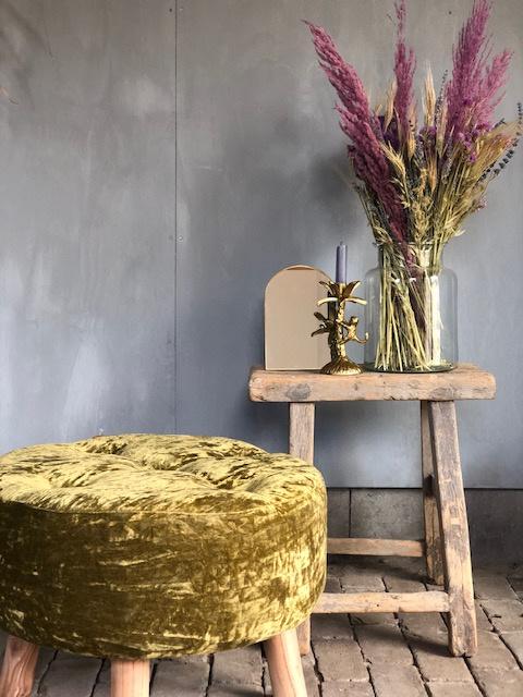 Velvet MARA poef goud/groen