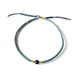 Lapis lazuli - donkergrijs & goudkleurig