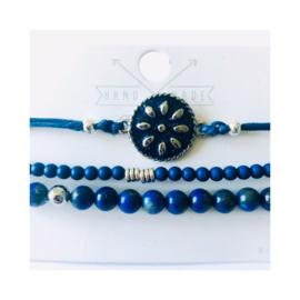Blauw 'Boho  chique' zilverkleur