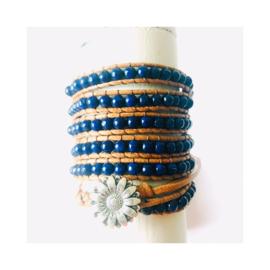 Wikkelarmband - donkerblauw (zonder steen)