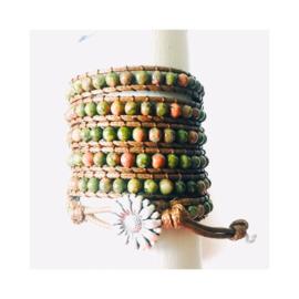 Wikkelarmband - groen / roze (zonder steen)