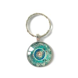 Mandala aqua - sleutelhanger