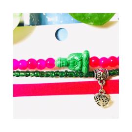Fuchsia roze & groen 'Buddha' - zilverkleur
