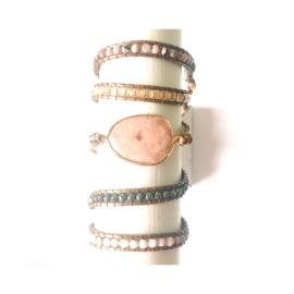 Wikkelarmband - roze / beige