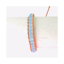 Wrap armband leer - lichtblauw