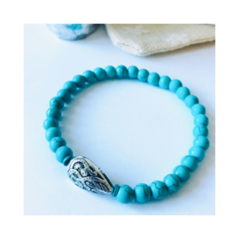 Turquoise - druppel 'silver'