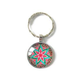 Mandala roze/rood - sleutelhanger