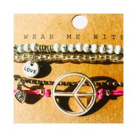 Roze & wit 'peace, love & happiness' - zilverkleur